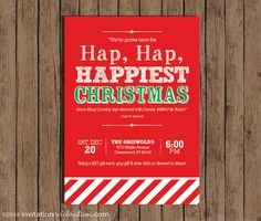 Christmas Vacation Party Invitation - Clark Griswold Quote - Hap Hap Happiest Christmas - Choose Digital or Printed w/ Envelopes