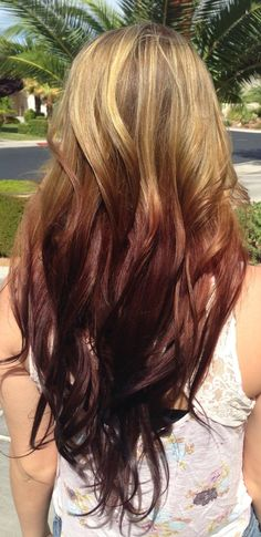 Brown to deep red reverse ombre hair color
