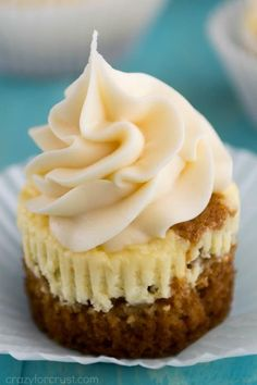 Carrot Cake Cheesecake Cupcakes have a layer of the perfect carrot cake and a layer of easy cheesecake! This recipe is easy and makes the perfect dessert mashup!
