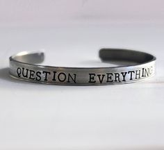 Question Everything Hand Stamped Cuff in Silver – The Bullish Store