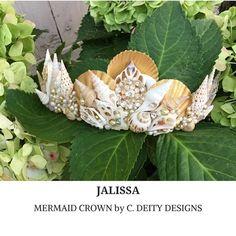 Gold Mermaid Crown, Festival Crown, Beach Bride SeaShell Crown ~ JALISSA #beachbride #mermaidcrown