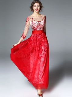 Elegant Mesh Patch Embroidery 3/4 Sleeve Maxi Dress