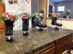 Hockey flower decorations, could change the ice skate to a jazz shoe for DANCE! Hockey Crafts, Hockey Decor, Hockey Room, Hockey Birthday Parties, Hockey Party, Skate Party, Ice Skating Party, Sports Party, Hockey Tournaments