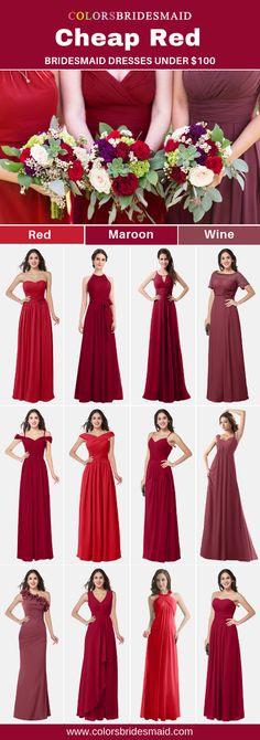 16 trendy ideas for wedding shoes maroon bridesmaid Wedding Dresses Under 500, Different Wedding Dresses, Wedding Dress Types, Colored Wedding Dresses, Maroon Gowns, Bridesmaid Dresses Under 100, Red Bridesmaids, Bridesmaid Bouquet, Bridal Gowns
