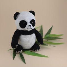 Crochet Stuffed Toys Louis The Panda Amigurumi Crochet Pattern - Crochet Panda, Cute Crochet, Crochet Animals, Crochet Dolls, Half Double Crochet, Single Crochet, Amigurumi Patterns, Crochet Patterns, Amigurumi Tutorial