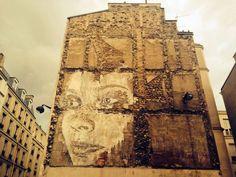 Vhils New Street Art Piece - Paris, France