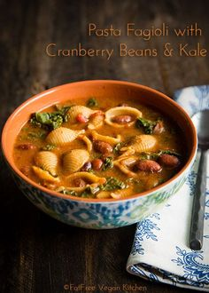 Pasta Fagioli with Cranberry Beans and Kale - a low-fat, vegan version of the traditional Italian pasta and beans. With Instant Pot (pressure cooker) and regular stove top directions.