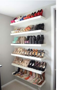 A shoe wall display might be what's LACKing from your life! Use a LACK wall sh. A shoe wall display might be what's LACKing from your life! Use a LACK wall shelf to pick the rig Shoe Shelf In Closet, Wall Shoe Rack, Shoe Rack With Shelf, Bedroom Closet Storage, Shoe Wall, Diy Shoe Rack, Shoe Shelves, Wall Shelves, White Shoe Rack