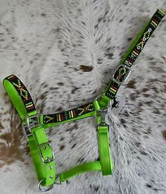 Hot Lime Green Nylon Horse Halter Colorful Navajo Overlay Halter New Horse Tack | eBay
