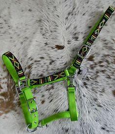 Hot Lime Green Nylon Horse Halter Colorful Navajo Overlay Halter New Horse Tack | eBay