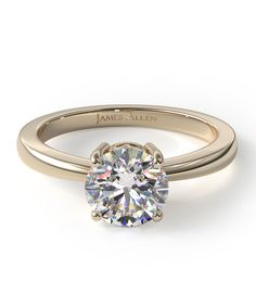 """""""Luxury Designer Engagement Rings"""" via DuJour. Featuring this 14K Yellow Gold Scroll Basket Solitaire.  