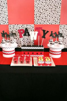 Themed desserts at a puppy birthday party! See more party ideas at CatchMyParty.com!