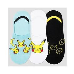 Women's 3-pk Liner Socks Pokemon 9-, Multi-Colored ($8) ❤ liked on Polyvore featuring intimates, hosiery, socks, patterned socks, print socks, patterned hosiery, multicolor socks and multi colored socks