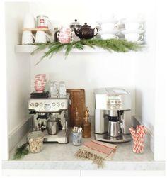 Grove House Holiday 6 by Heather Bullard.  Christmas Coffee station. Red transferware, brown sugar cubes, peppermint stick cookies, cedar greens