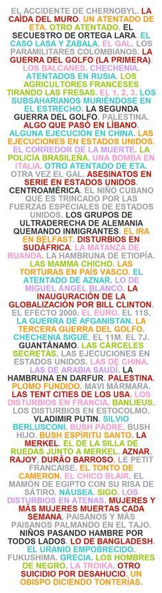 """__ MEMORIA DESORDENADA DEL CAOS __  Maria Mjöllnir Activista en la red, nos propone un mosaico multicolor basado en una selección de echos-históricos-""""nadasantos"""" de la historia reciente de este """"PLANETA DE LOS SIMIOS"""" en el que estamos.   Entra en IndieColors Blog"""