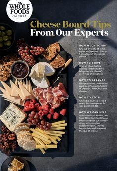 From how much cheese to buy for the ultimate cheese board to how to serve, arrange and store your cheese -- our experts can help. Use this handy guide, or consult with our Certified Cheese Professionals and cheesemongers in-store. Wine Recipes, Whole Food Recipes, Healthy Recipes, Cheese Recipes, Appetizer Recipes, Appetizers, Charcuterie And Cheese Board, Cheese Boards, Indian Cheese