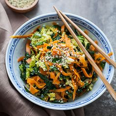 Raw Kale, Cabbage and Carrot Salad with Maple Sesame Dressing {recipe}