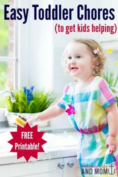 So cute letting toddlers help with a few chores! Plus free printable toddler chore chart template!