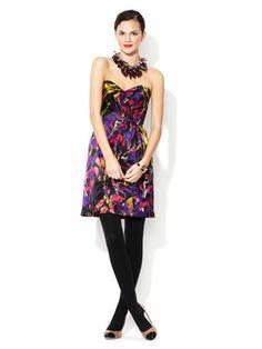 Milly Ivie Strapless Silk Satin Dress
