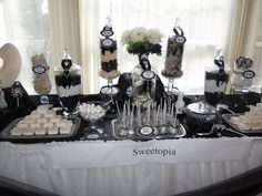 Elegant Black and White Candy Buffet