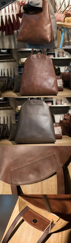 Handmade Leather vintage Big Large tote bag coffee brown for women leather shoulder bag