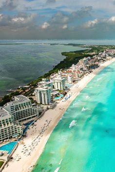 Cancun, Mexico. See the two different contrast of seascape, still based in the carribean sea, one side has a turquoise colour and the other side is a deep green colour. Absoutely amazing!