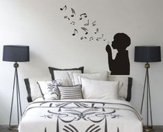Boy Blowing Music Notes Wall Decal Sticker Bubbles Nursery Kid Room Girl Baby on Etsy, $34.00