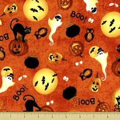Spooky Eve Cotton Fabric - Ghastly Ghosts - Orange by Beverlys.com Halloween Fabric, Ghosts, Eve, Cotton Fabric, Orange, Fall, Autumn, Fall Season, Cotton Textile