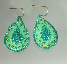 OOAK Opal mint teal blue green beaded earrings original design jasmine fairy tear drop hoops spring summer bridesmaids on Etsy, $48.99