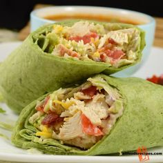 California Club Chicken Wrap – It's a complete wrap with filling of chicken, bacon and cheesy for a complete cheesy meal.    RECIPE : http://www.allfoodsrecipes.com/recipe/california-club-chicken-wrap/