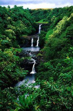 Wonderful cascade of waterfalls