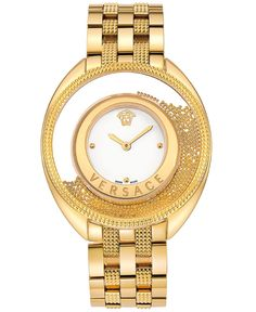 Versace Watch, Women's Swiss Destiny Spirit Pyramid Stud Gold Ion-Plated Stainless Steel Bracelet 39mm 86Q70D002 S070