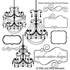 French Country Chandelier Frames and Tags Digital Clipart Commercial use for… Silhouette Cutter, Silhouette Curio, Silhouette Cameo Projects, Sign Stencils, Free Stencils, Scrapbooking, Scrapbook Paper, French Country Chandelier, Paris Birthday Parties