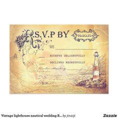 Vintage lighthouse nautical wedding RSVP cards