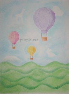 Hot Air Balloon Nursery Art Print by purpleVee on Etsy, $25.00