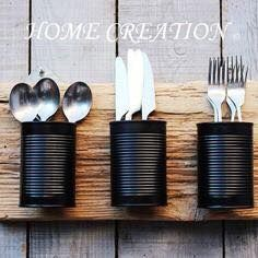 DIY recovery: diverting cans into decorative objects .- DIY-Erholung: Umleiten von Dosen in dekorative Objekte # Dosen DIY recovery: divert cans into decorative objects # Cans - Creation Deco, Diy Holz, Decorative Objects, Aluminium, Diy Kitchen, Coffee Shop, Diy Furniture, Diy Home Decor, Recycling