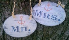 NAUTICAL WEDDING Signs with ANCHOR Mr. & Mrs. Beach Wedding, Military Weddings, Ship Weddings. $33.00, via Etsy.