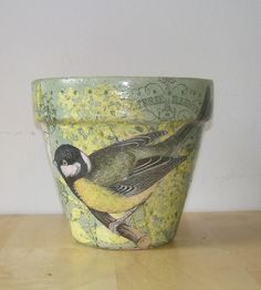 "Handmade Decoupage Terra Cotta Clay Flower Pot Birds 6"" uk.picclick.com"