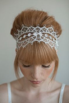 Items similar to Wedding headband, bridal hair piece, lace, crystals - Chantilly and rhinestone self tie headband - Style 016 - Made to Order on Etsy Wedding Headband, Tie Headband, Lace Headbands, Headband Styles, Headband Hairstyles, Rhinestone Headband, Hair Wedding, Bun Hairstyle, Wedding Lace