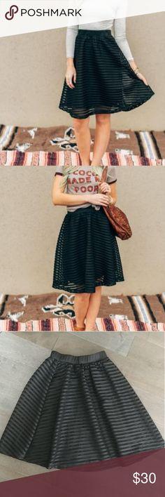 Black Circle Midi Skirt New striped black midi skirt! NWT Fully Lined. Shell: 100% polyester Lining: 100% polyester Three Bird Nest Skirts Midi