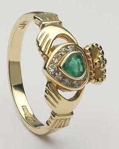 Ladies Diamond Claddagh Emerald Heart