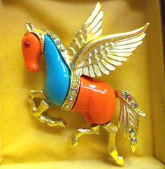 Vintage HATTIE CARNEGIE Pegasus Flying Horse Rhinestone Pin Brooch ~ MINT! #HattieCarnegie