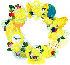 レモンの色々な雑貨で作られたリース