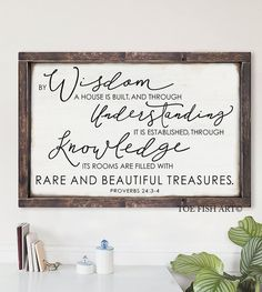 By Wisdom a House is Built Large Framed Sign by ToeFishArt on Etsy