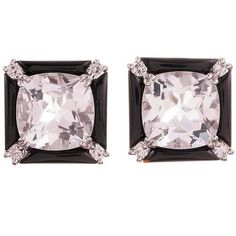 Seaman Schepps Crystal Onyx Diamond Gold Carre Earrings ($5,900) ❤ liked on Polyvore featuring jewelry, earrings, black, yellow gold earrings, anchor earrings, round diamond earrings, 18 karat gold earrings and onyx earrings