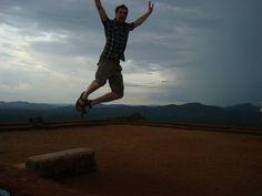 Damon Simpson jumping from the Famous Sigiriya Rock Fortress in Sri Lanka