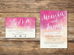 Watercolour wedding invitation with large font