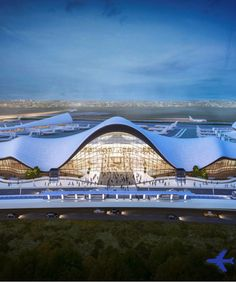 New renderings of New York's LaGuardia Airport show a dreamscape of possibility. But will the beleaguered airport ever actually look this grand? Bamboo Architecture, Unique Architecture, Futuristic Architecture, Architecture Concept Drawings, Architecture Visualization, Roof Design, Facade Design, Architectural Design Studio, Airport Design