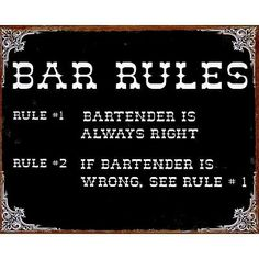 Two Rules of the Bar Metal Sign - Decorative Signs