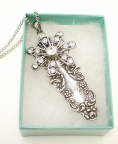 Silver Floral Rhinestone Victorian Style Pendant Necklace by NatureAngels, $24.00